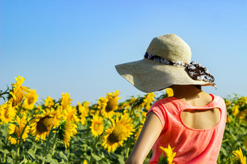 Hipster woman with straw hat in the field of sunflowers. Travel girl enjoy summer sunset in the field of sunflowers