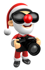3D Santa characterto shoot the camera toward the Right. 3D Christmas Character Design Series.