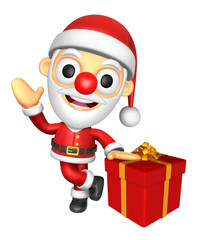 3D Santa mascot the right hand guides and the left hand is holding a Big Gift Box. 3D Christmas Character Design Series.
