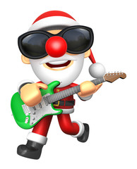 3D Santa has to be playing the Green electric guitar. 3D Christmas Character Design Series.