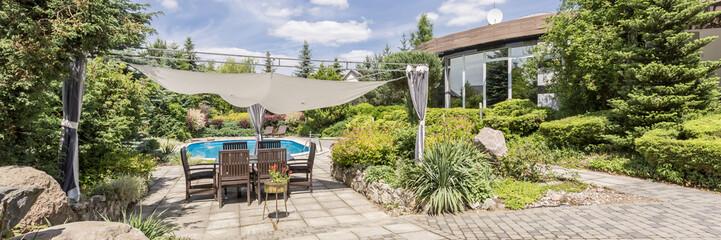Garden patio canopy in garden