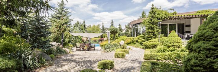 Small patio in suburb garden