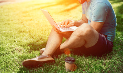 Young blogger sitting on grass and working with laptop