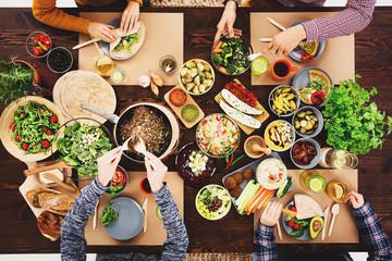 Meeting at a vegan dinner