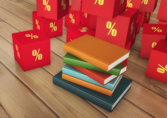 3d rendering. Books and discounts