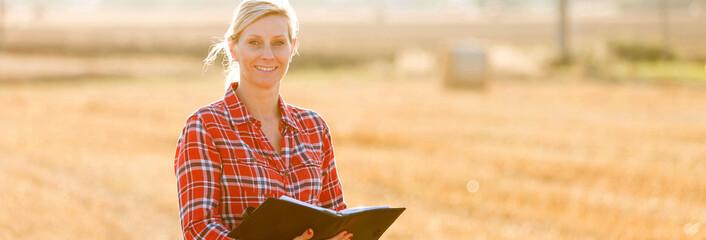 Female farmer controlling field