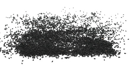 Pile of black cumin seeds isolated on white background