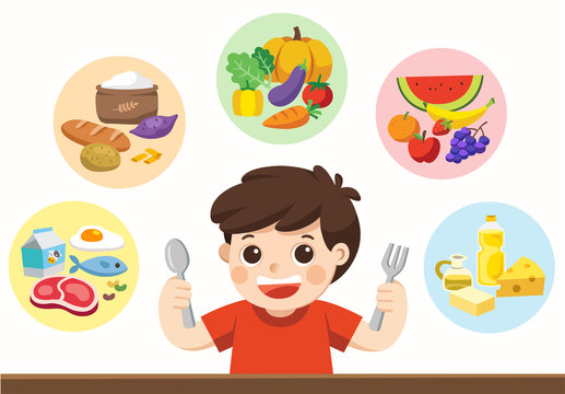 A cute boy with The five food group. Let's get something to eat! Isolated vector