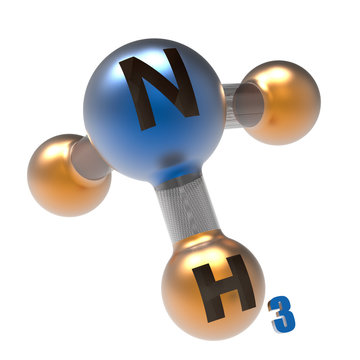 Molecule of ammonia, 3d render close-up
