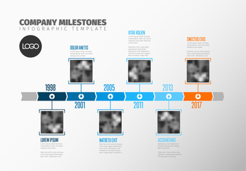 Vertical Image Grid Timeline Infographic Layout
