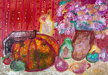 Children's drawing. Autumn still life with pumpkin