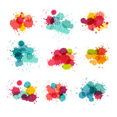 Watercolor splashes. Colorful paint splat. vector collection. Bright colors splash grunge background. Isolated on white background