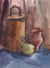 Simple watercolor still life of manual work.