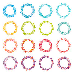 Circle frame vector collection. Hand drawn coloring round frames. Isolated wreath set on white background. Splash frame with empty space for your text