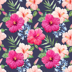 Watercolor tropical hibiscus vector pattern