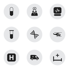 Set Of 9 Editable Care Icons. Includes Symbols Such As Clinic, Drug, Analysis Container And More. Can Be Used For Web, Mobile, UI And Infographic Design.