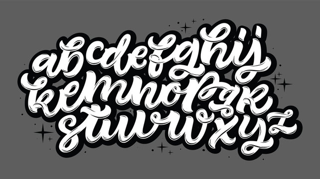Vector hand drawn alphabet. Brush painted letters. Handwritten script alphabet. Hand lettering and custom typography for your designs: logo, for posters, invitations, cards, etc. Vector type.