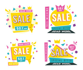 Sale banners. Bright and retro style. Cartoon vector illustration.