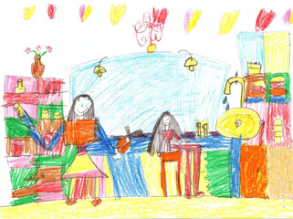 Child's drawing of a hair salon