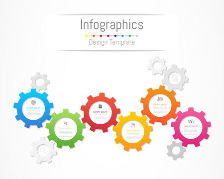Infographic design elements for your business data with 6 options, parts, steps, timelines or processes. Gear wheel concept, Vector Illustration.