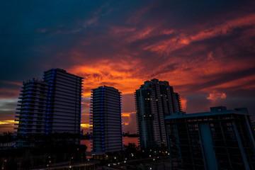 Miami Buildings against Sunset Skyline