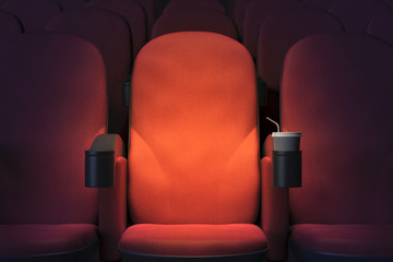 Deurstickers Theater Emoty cinema armchair