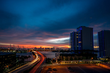 Traffic over Miami Causeway at Sunset