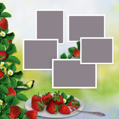 Frames for family photos on a vintage background with a border of leaves and berries of strawberries and a plate with berries