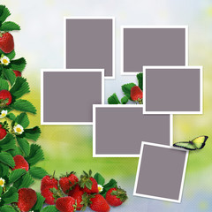 Frames for family photos on a vintage background with a border of leaves and berries of strawberries