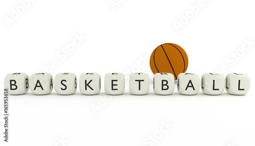 word basketball written on dices with ball behind them 3d render