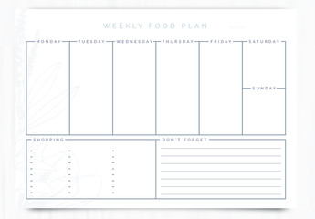 Weekly Food Planner Layout 5