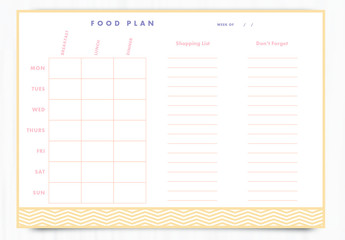 Weekly Food Planner Layout 6