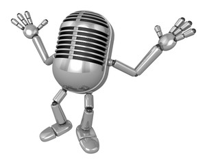 3D Classic Microphone Mascot is startled again and again. 3D Classic Microphone Robot Character Series.