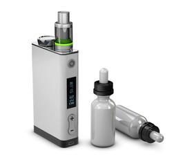 3d Illustration of Vape and Bottle with aromatic oil. Vape e-liquid.