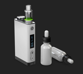 Vape and Bottle with aromatic oil. Vapor on backdrop, 3d Illustration