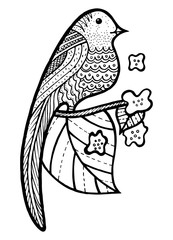 Bird on branch with leaves and flowers coloring page.