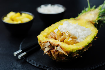 Pineapple stuffed rice with pineapple cashews chicken