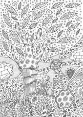 Coloring page with surreal landscape