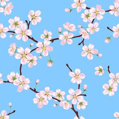 Бесшовный векторный весенний узор из веток цветущей яблони с розовыми лепестками на фоне голубого неба