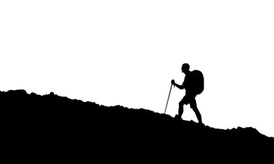 Hiking man in black Wall mural