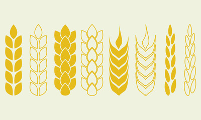 Wheat ears or rice icon set. Crop, barley or rye symbols. Agriculture design elements collection. Vector illustration.