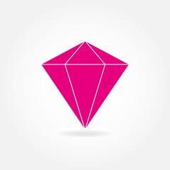 Diamond or ruby icon. Precious stone flat symbol. Vector illustration.