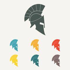 Spartan helmet flat icon. Ancient Roman or Greek helmet with feathered crest. Colorful vector illustration.
