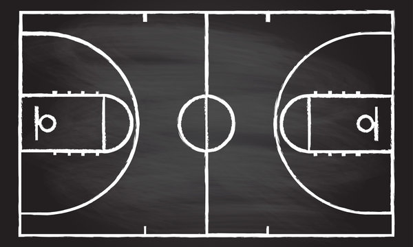 Basketball court isolated on blackboard texture with chalk rubbed background. Vector illustration.