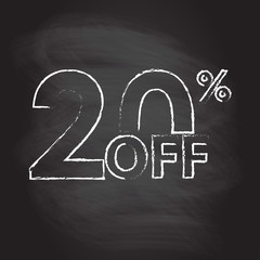 20% off. Sale and discount price sign or icon isolated on blackboard texture with chalk rubbed background. Sales design template. Shopping and low price symbol. Vector illustration.