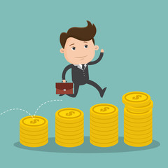 Businessman jumping on a pile of coins. Man jump from a small pile of money to big pile of coins. Illustration about success in financial goals. Vector illustration.