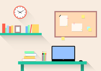 Workplace in light and bright colors, home office for designer, student, creative people, study room with table, laptop and bookshelf. Infographics, vector illustration, flat style