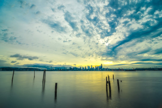early morning sunrise in seattle washington