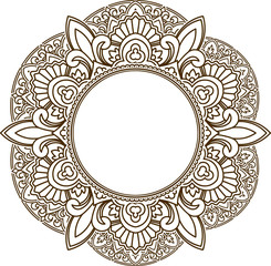 Rich decorated henna frame pattern with round centre. Vector decorative background in ethnic Indian style for coloring book, design of textile, bags, product packaging, brochures, flyers.