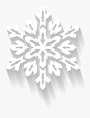 Decorative snowflake with long shadow. Vector geometric element.